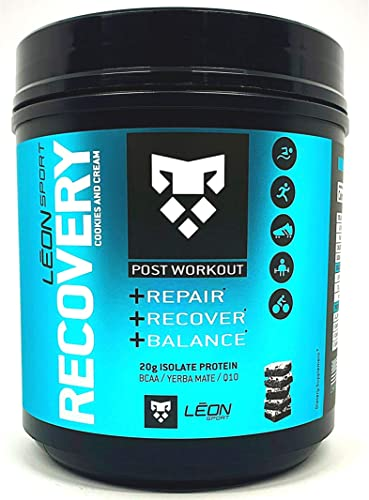 Leon Sport Recovery – Keto Protein Powder Food with BCAA, L Glutamine Plus Yerba Matte – Zero Carbs Cookies and Cream