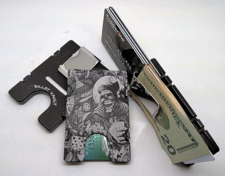 Billet Aluminum Wallet//Credit Card Holder Black Gambler Skull RFID Protection