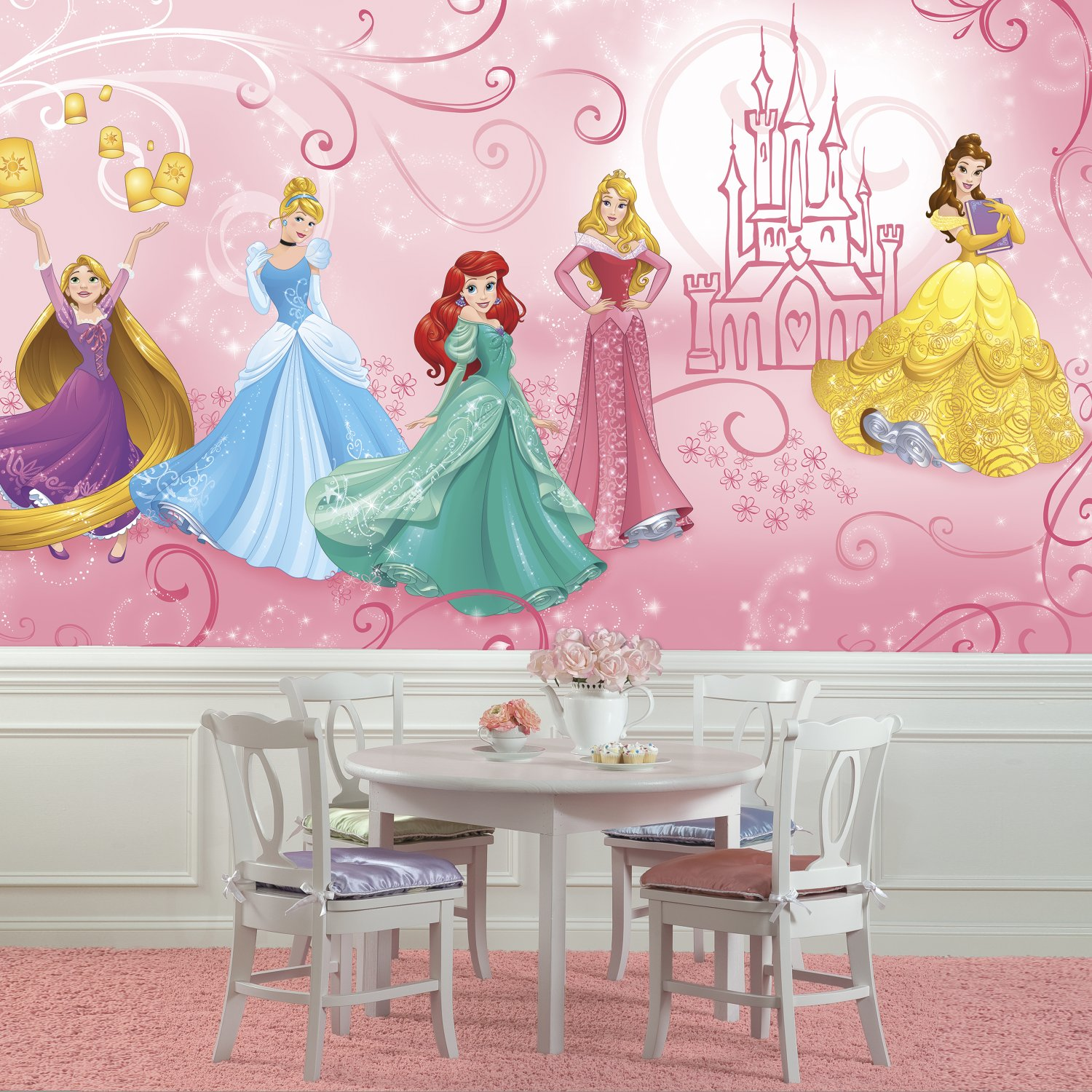 RoomMates JL1388M Disney Princess Enchanted XL Chair Rail Prepasted Mural 6 X 10.5 Ultra-Strippable Multicolor York Wallcoverings