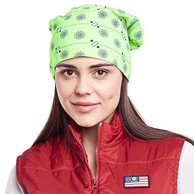Vimal Green Printed Cotton Beanie Cap For Women  Amazon.in  Clothing ... 93e3b1a254ff