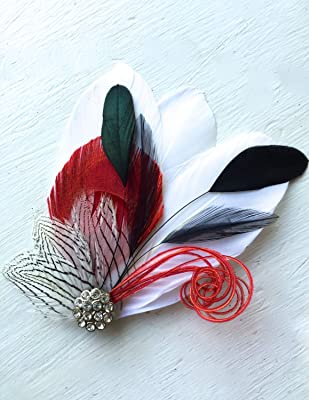 Oh Lucy Handmade SIDNEY Feather Fascinator with Crystal and Pearl, Feather Hair Clip, Bridal Hair Piece in Red with Black and White