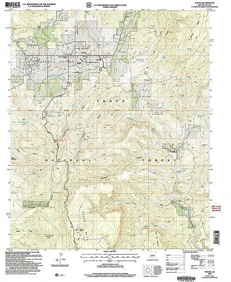Map Of Young Arizona.Amazon Com Yellowmaps Young Az Topo Map 1 24000 Scale 7 5 X 7 5
