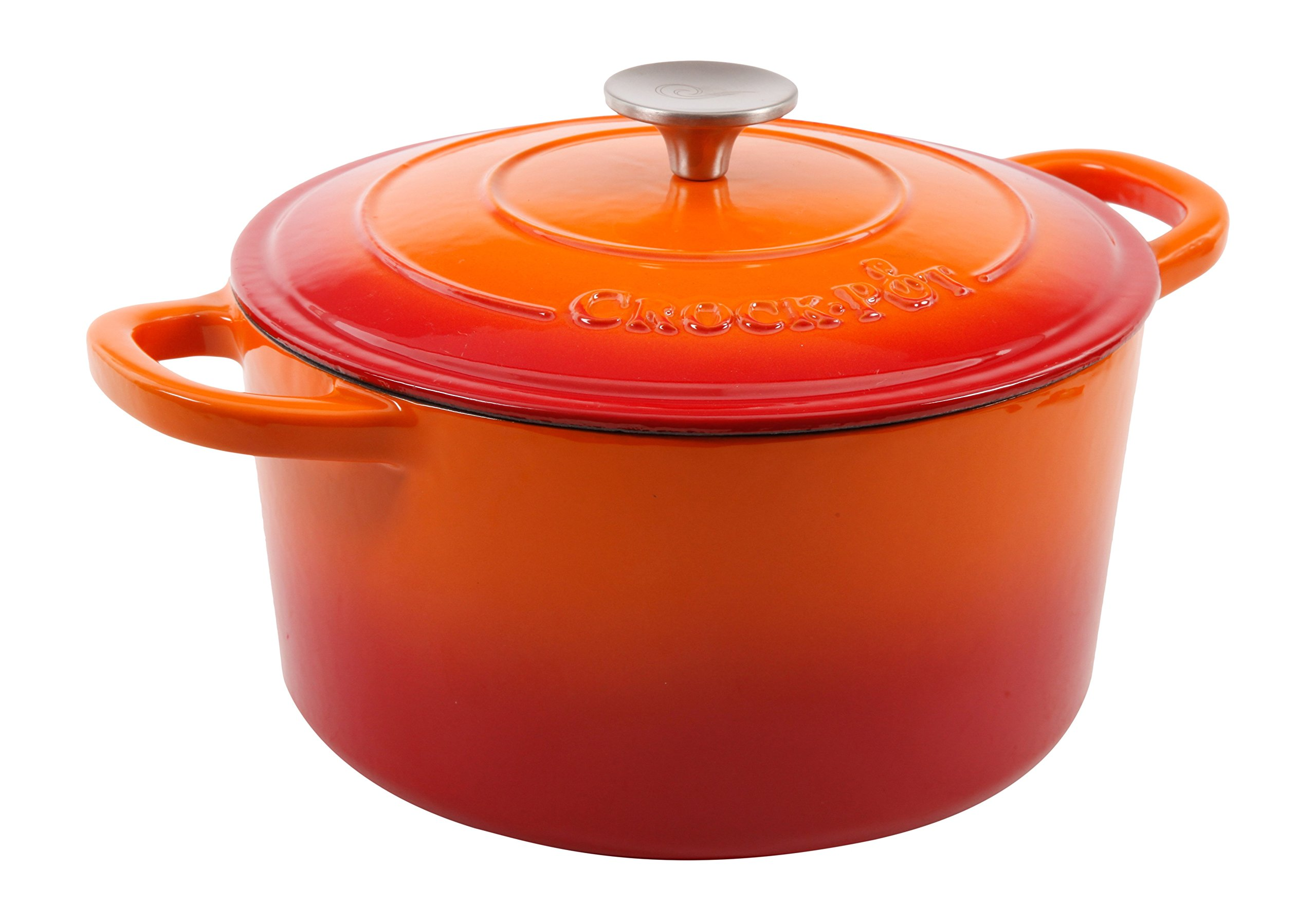 Crock Pot Artisan 5QT Enamel Cast Iron Dutch Oven, Sunset Orange by Crock-Pot