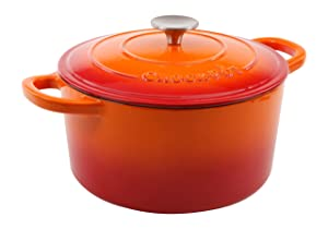 Crock Pot 109469.02 Artisan 5 Quart Round Enameled Cast Iron Dutch Oven, Sunset Orange