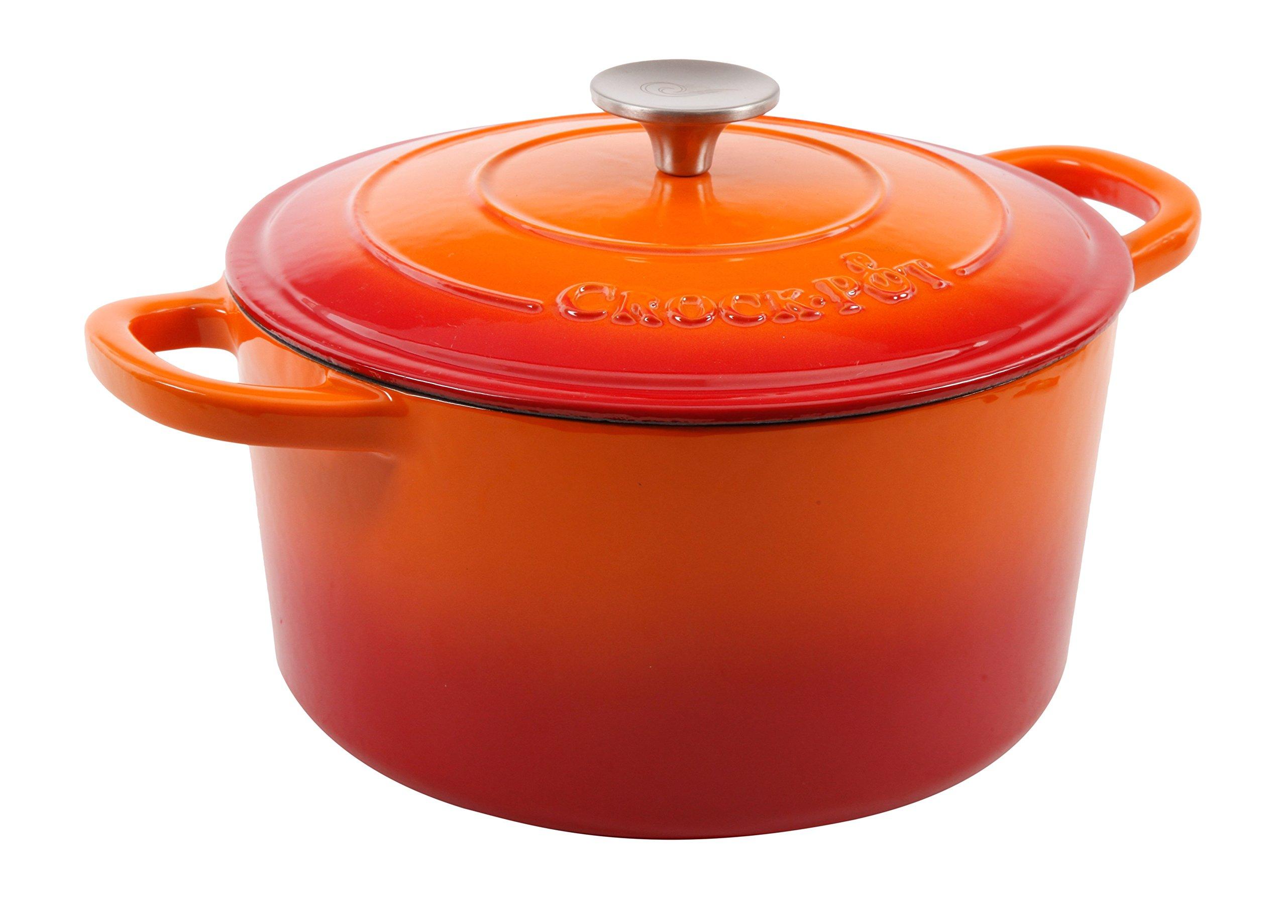 Crock Pot Artisan Round Enameled Cast Iron Dutch Oven, 5-Quart, Sunset Orange