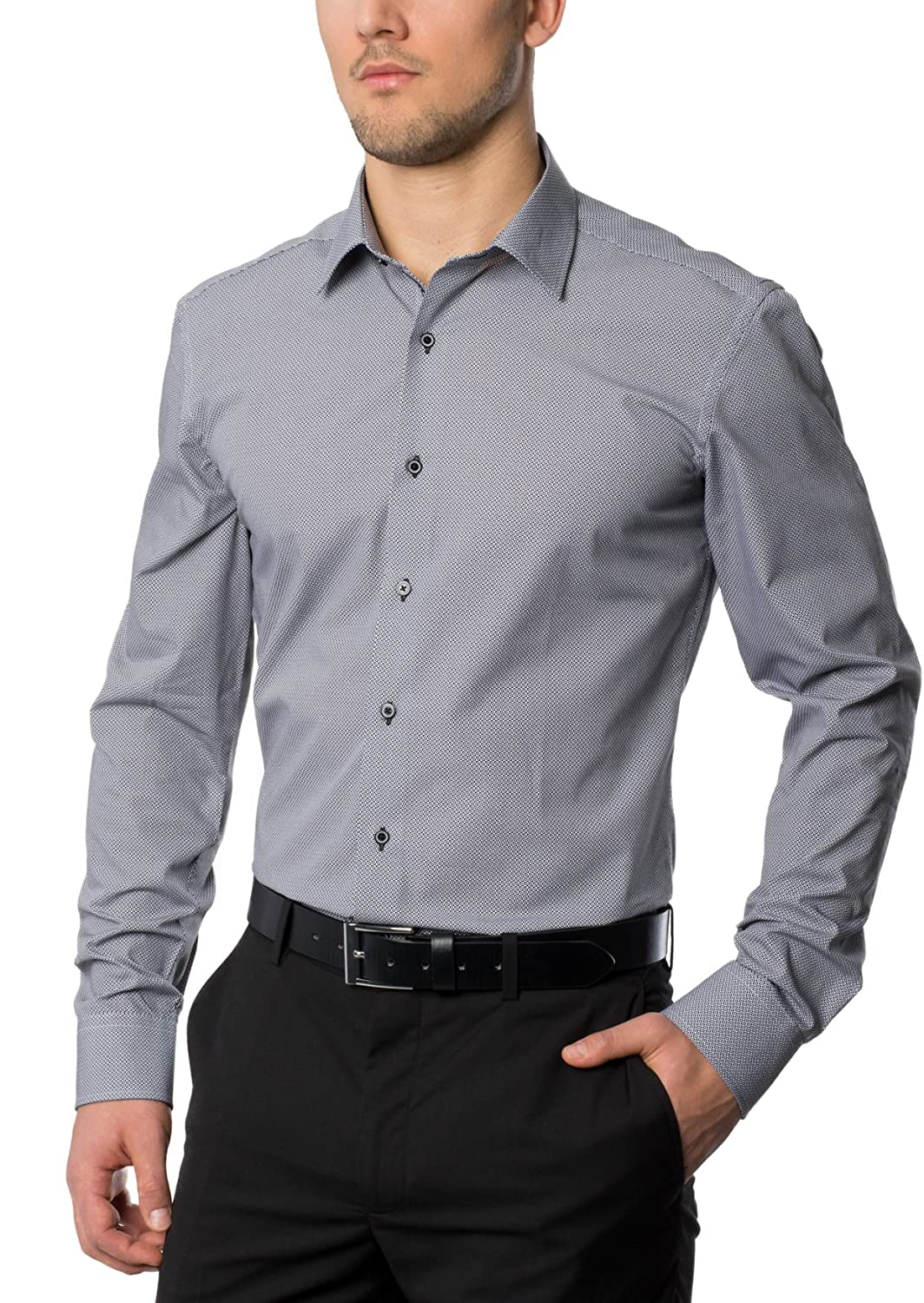 ETERNA Men's SLIM FIT long sleeve shirt gray patterned