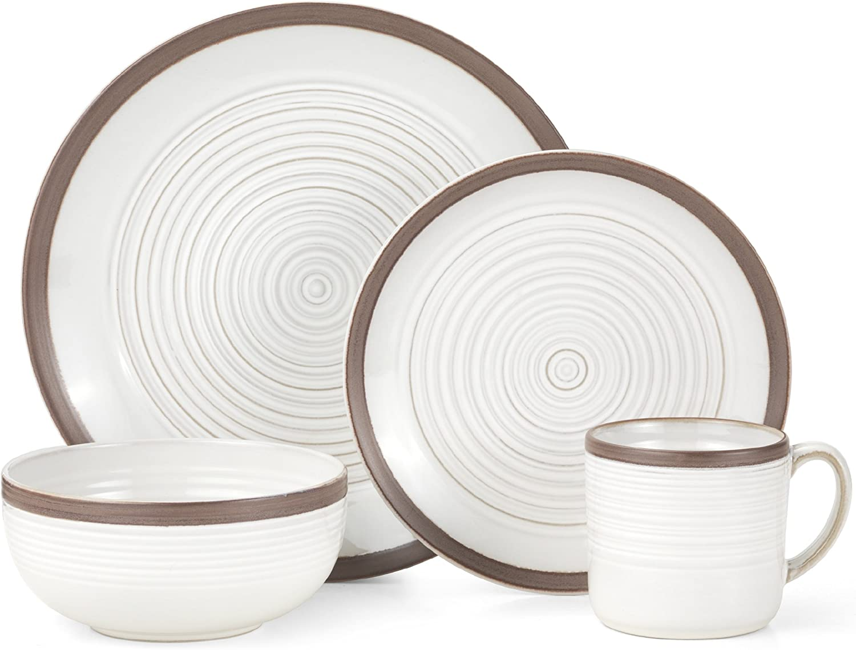 Pfaltzgraff Carmen Brown 16-Piece Stoneware Dinnerware Set, Service for 4 -