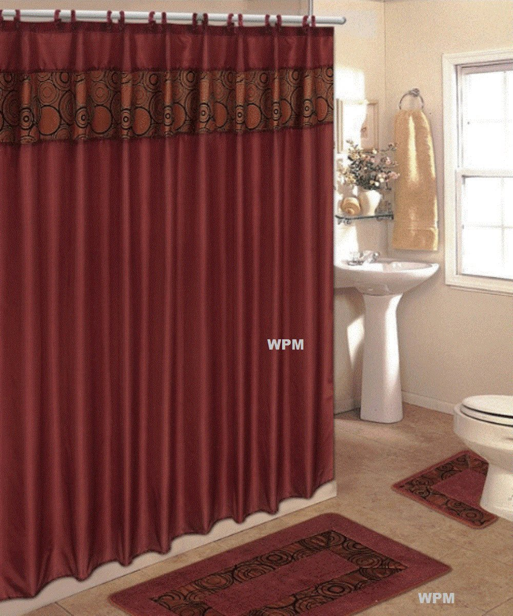 Amazon 4 Piece Bath Rug Set Rust Flocking Bathroom Rugs With Fabric Shower Curtain And Matching Rings Mat Home Kitchen