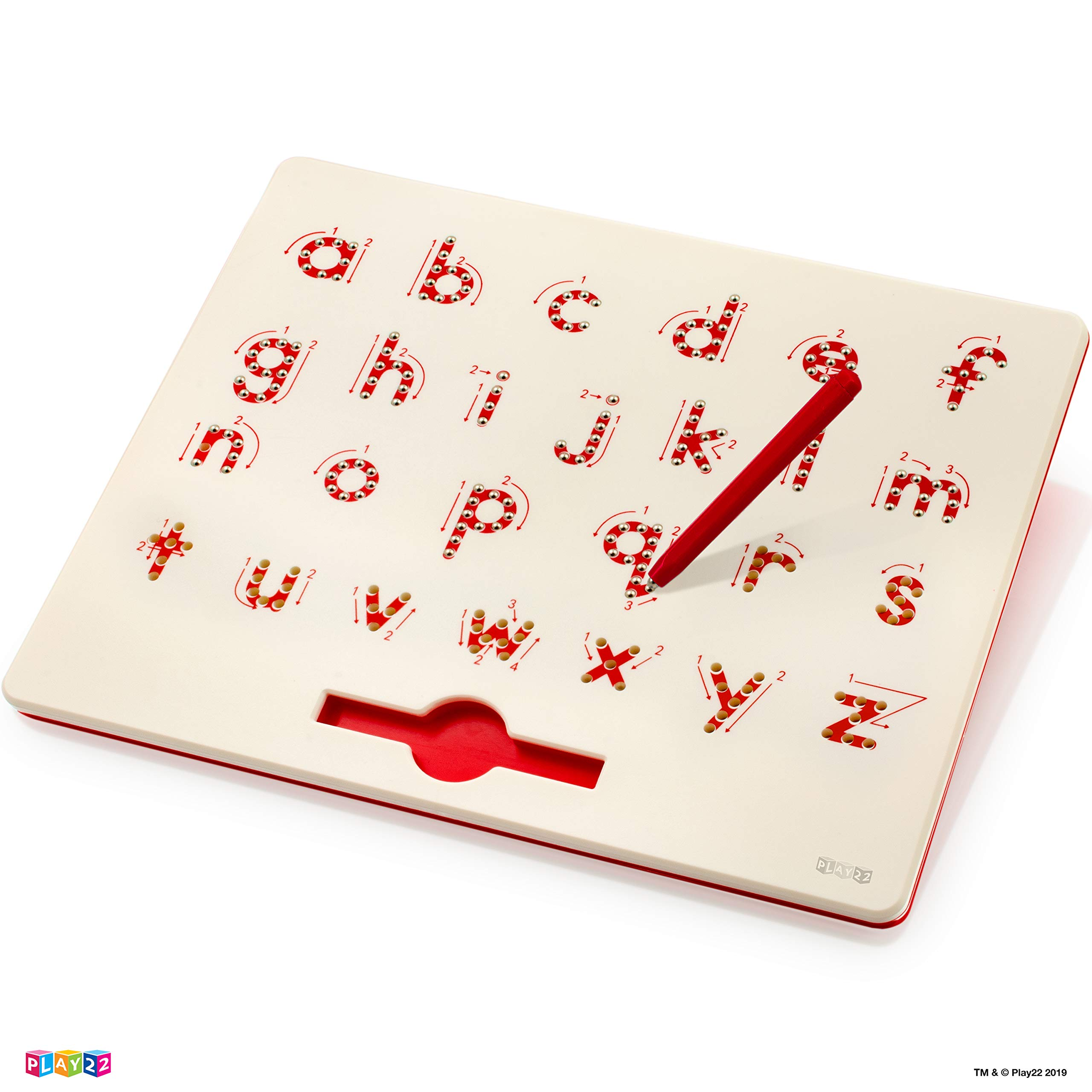 Play22 Magnetic Drawing Board - STEM Educational Learning ABC Letters Kids Drawing Board - Writing Board for Kids Erasable - a to z Magnetic Doodle Board Includes A Pen - Best Gift for Boys and Girls by Play22