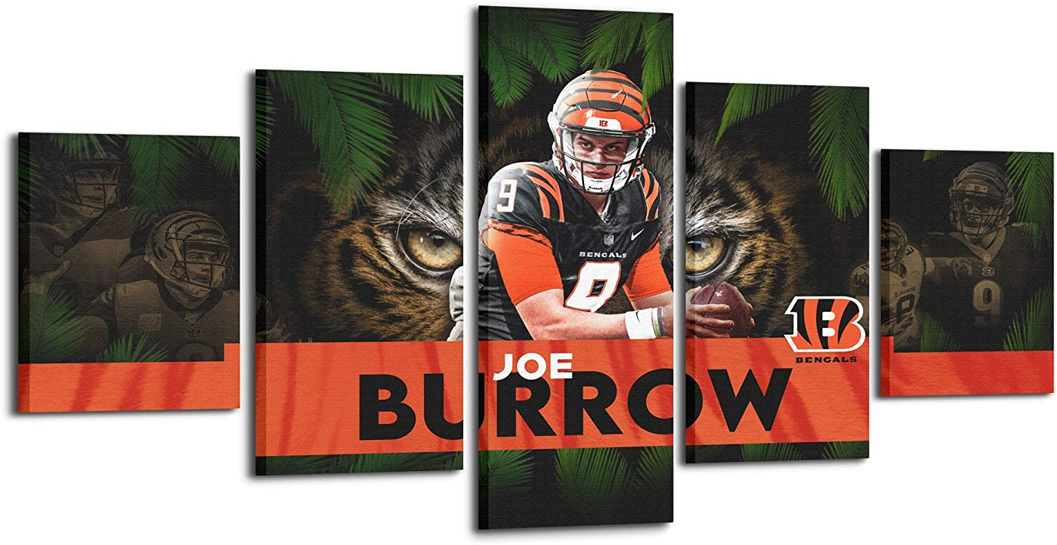 Cincinnati Bengals Wall Paintings 5 Panel Canvas Wall Art NO.9 Rookie Joe borrow Home Decor Modern Artwork Greed Red Posters and Prints Framed Gallery-wrapped Ready to Hang(50''Wx24''H, Joe Burrow)