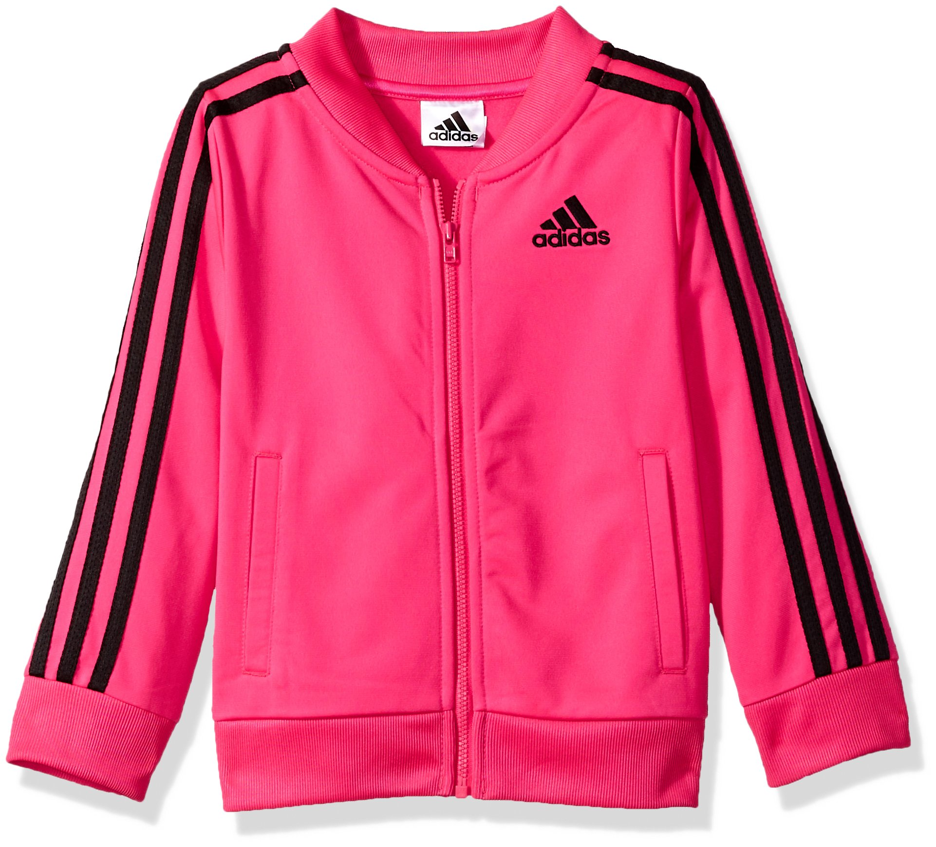 adidas Girls' Big Tricot Bomber Track Jacket, Shock Pink, Small by adidas