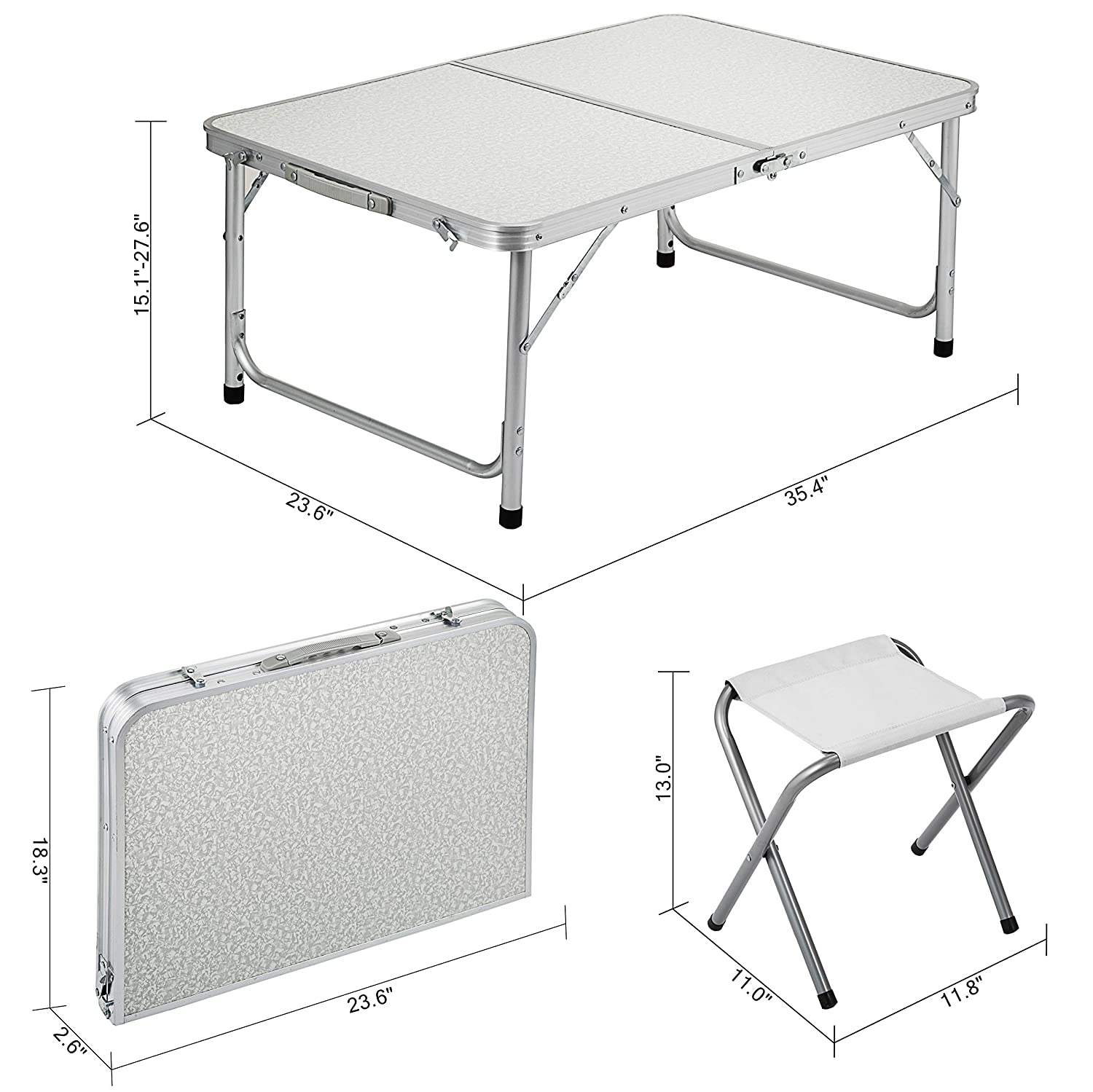 Happybuy Folding Picnic Table White 4 Person Camping Table and Chairs with 2 Benches Portable Table and Chair Set 35.4 L x 23.6 W Office Learning Beach Camping Garden Outdoor