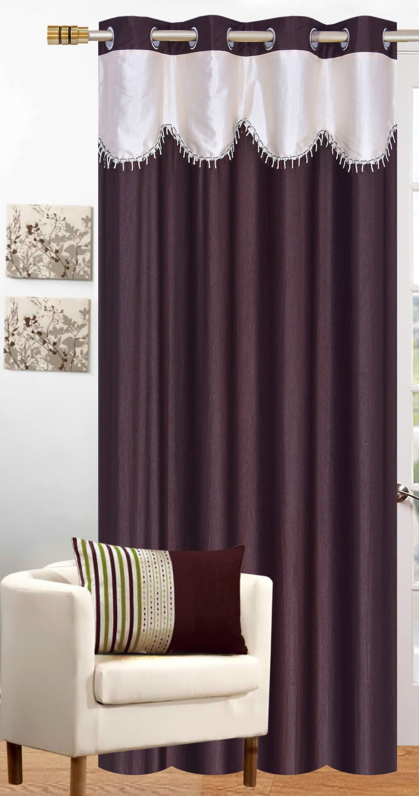Honey Traders Plain Eyelet Lace Door Curtains of 1 Piece - 7ft (Brown, 4 x 7) (B07X7632JW) Amazon Price History, Amazon Price Tracker