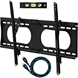 """Cheetah Mounts APTMMB TV Wall Mount Bracket for 20-80"""" TVs up to VESA 600 and 165lbs, Fits 16"""" And 24"""" Wall Studs and includes a 10' Twisted Veins HDMI Cable and a 6"""" 3-Axis Magnetic Bubble Level"""