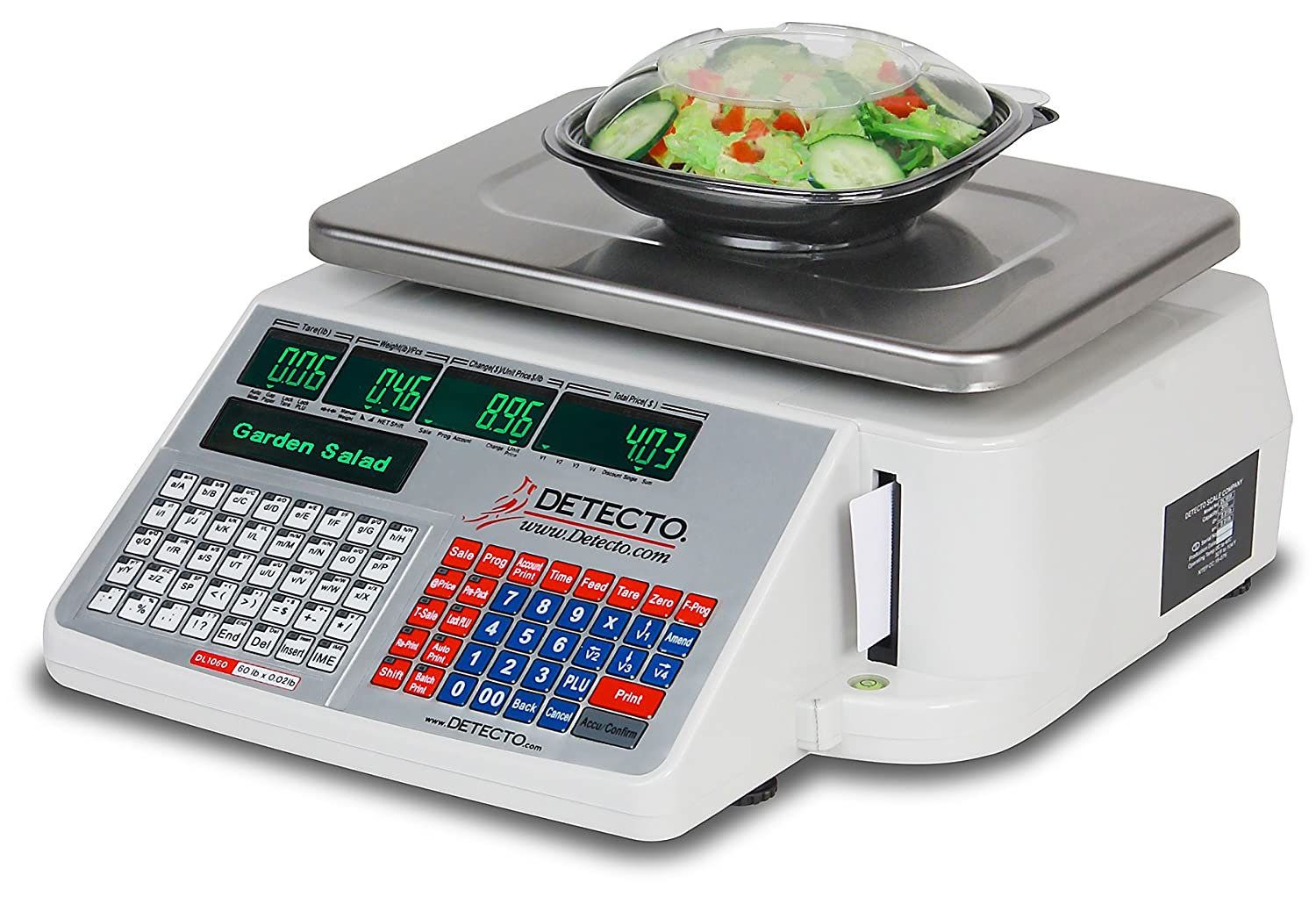 Detecto DL1060 Deli Scale with Integral Printer, 60 lb. x 0.02 lb.