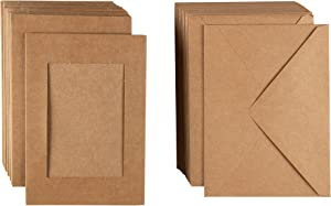 Kraft Picture Frame Note Cards for 4x6 Photo Inserts with Envelopes (48-Pack)