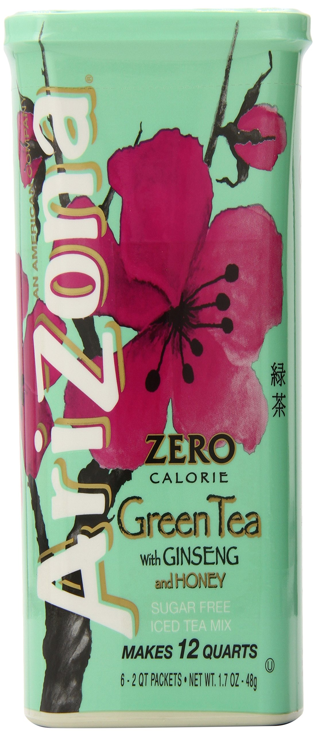 AriZona Sugar Free Green Tea with Ginseng & Honey Iced Tea Mix, 2 QT Canister (Pack of 4), Low Calorie Single Serving Drink Powder Packets, Just Add Water for Deliciously Refreshing Iced Tea Beverage