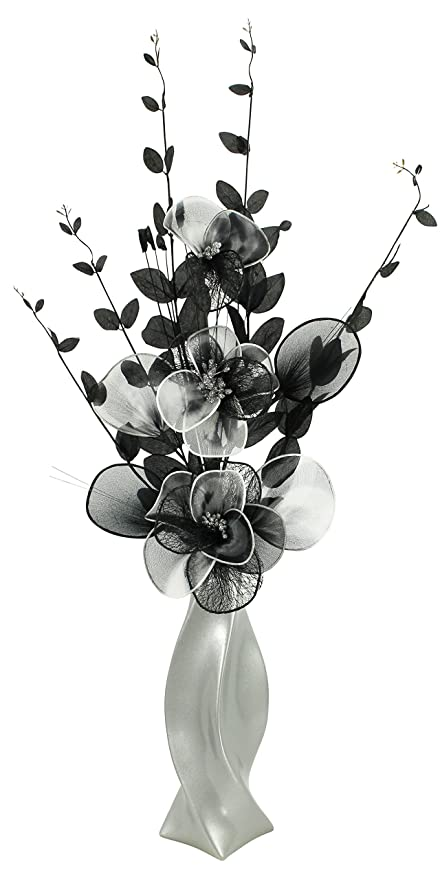 Light grey vase with black and white artificial flowers ornaments box contains 1 x vase and artificial flower mightylinksfo