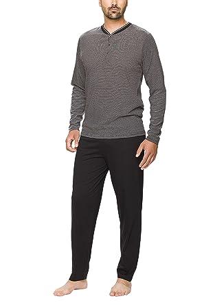 4b47b9c22717c8 Moonline - Schlafanzug Herren aus Baumwolle, langer Männer Pyjama mit  Öko-Tex Standard 100