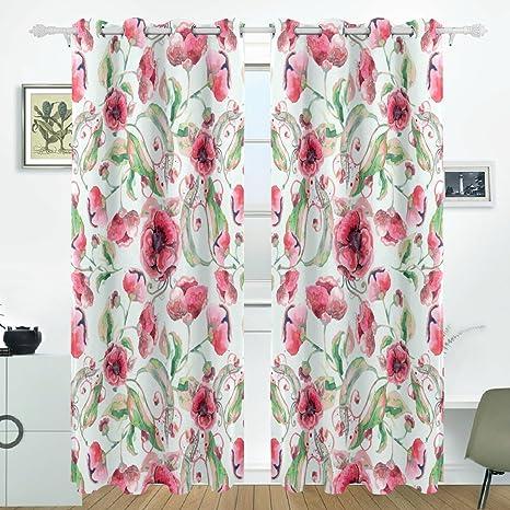 Amazon Jstel Watercolor Pink Flowers Curtains Drapes Panels