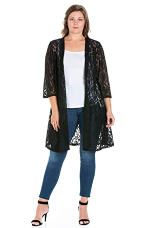 6f227c992b 24seven Comfort Apparel Women's Plus Size 3/4 Sleeve Long Lace Open Front  Cardigan - Made in USA - 1X-Large - Black at Amazon Women's Clothing store: