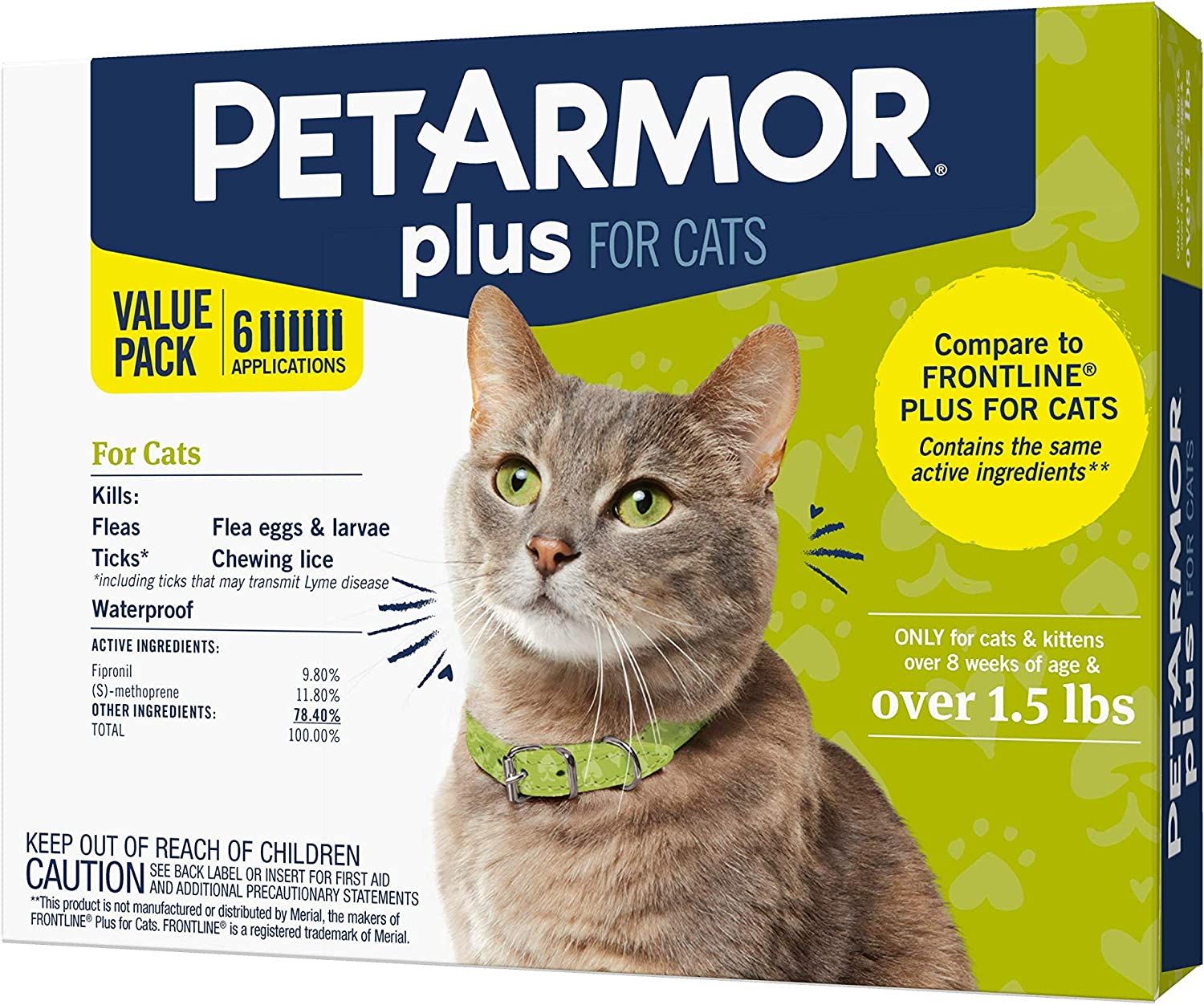 PetArmor Plus for Cats, Flea & Tick Prevention for Cats (Over 1.5 lb), Includes 6 Month Supply of Topical Flea Treatments, white, 6 count