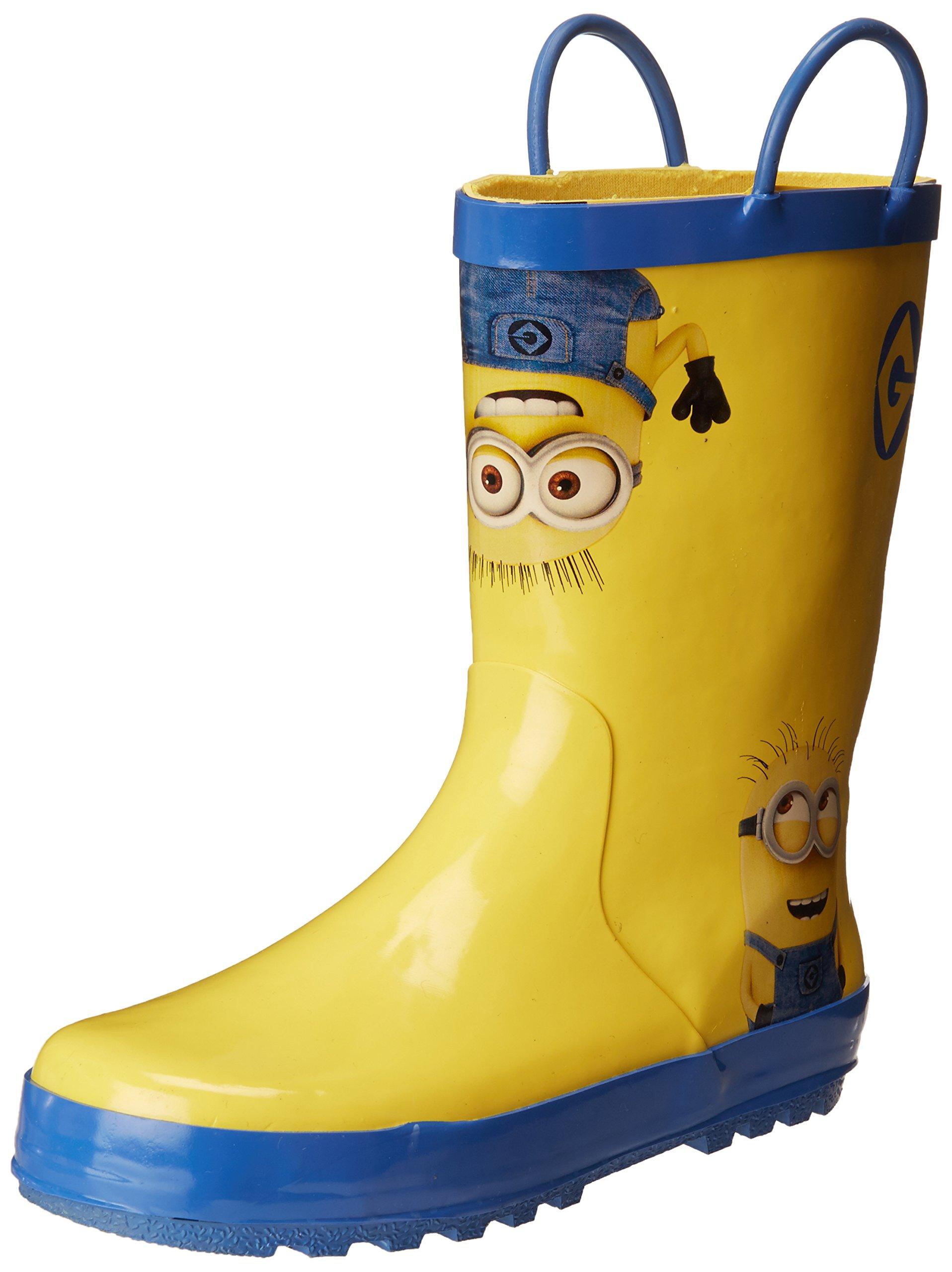 Despicable Me Unisex-Kids Minions Licensed Rain Boot, Yellow/Blue, Dual Shoe Size 13/1 Child US Little Kid