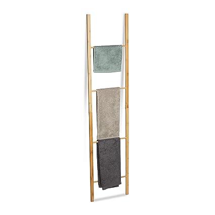 Holz Leiterregal mit 3 Sprossen Bambus Handtuchhalter Badezimmer Handtuchst/änder Deko Wand Regal