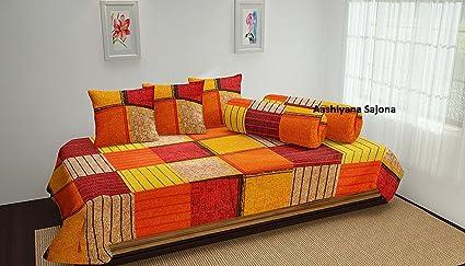 Aashiyana Sajona Cotton 6-Piece Diwan Set - 90  x 60 , Orange