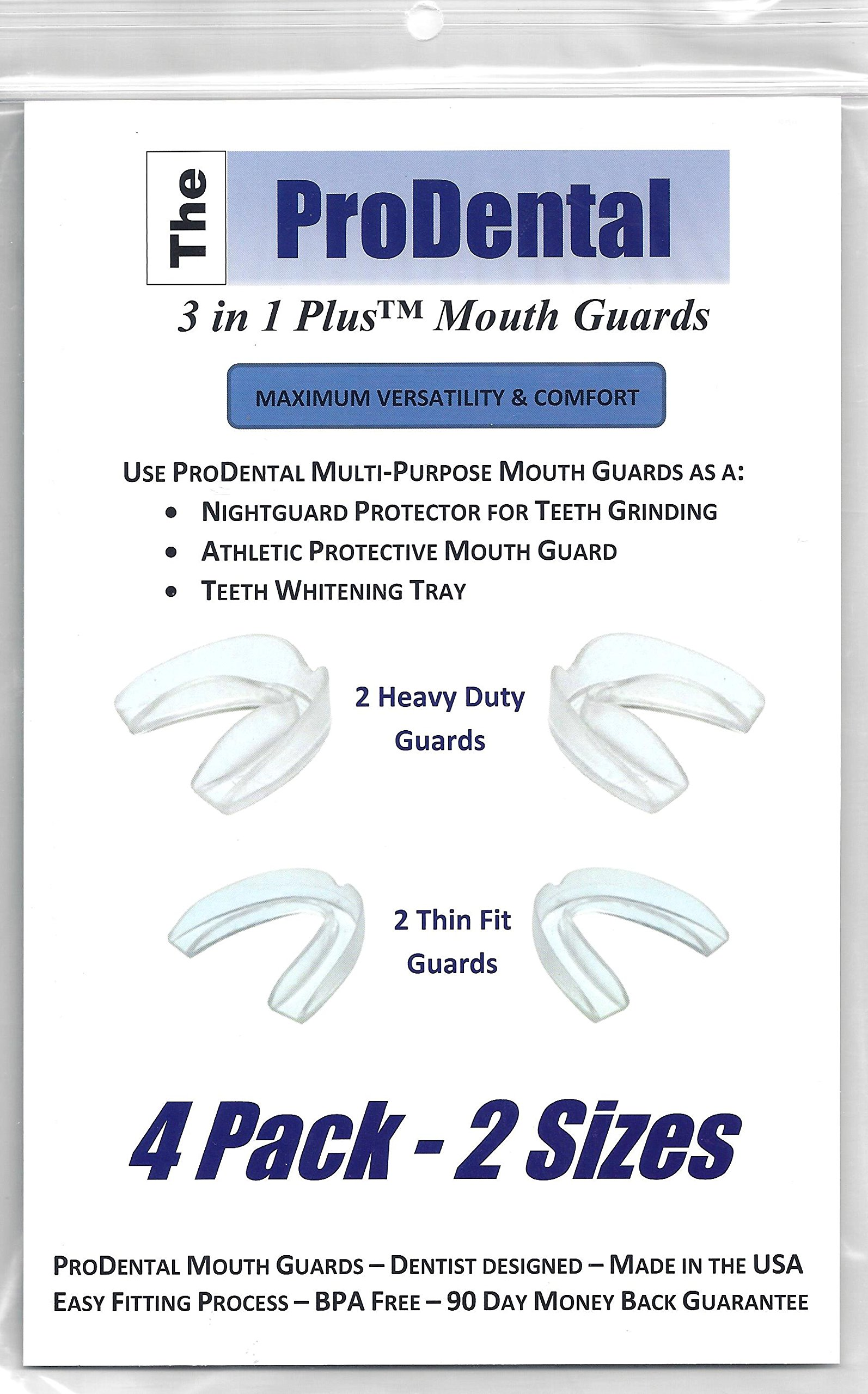 Professional Mouth Guard 4 pack from ProDental - BPA Free - Stops Teeth Grinding & Clenching - 2 Customizable Sizes for Optimal Comfort Night Guards - Hygienic, FDA Approved Soft Material, Made in USA