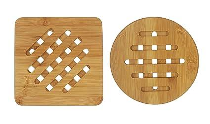 Bambri Bamboo Trivets For Kitchen, Hot Pads, Teapot Trivet, Pack Of 2 (
