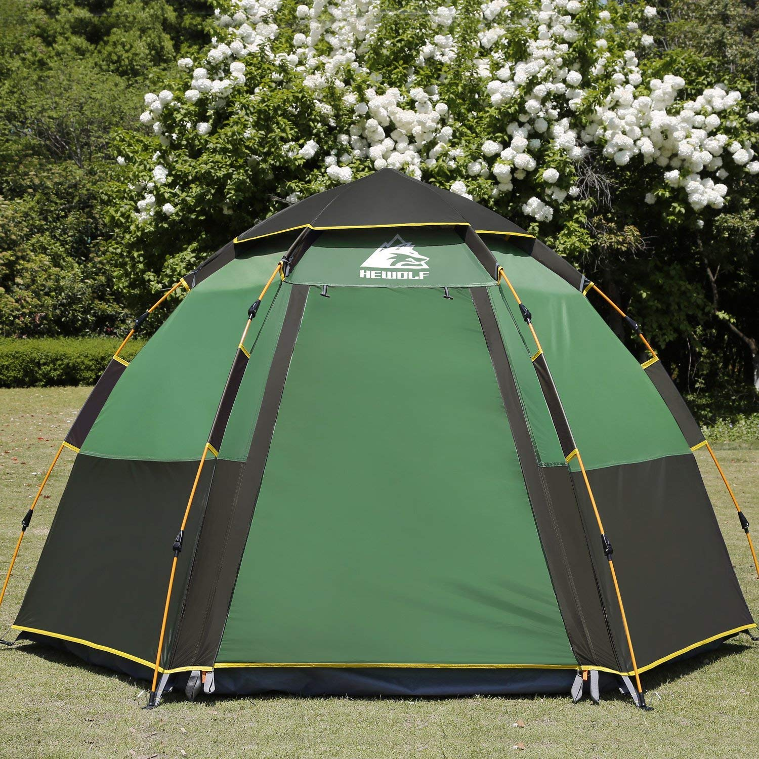 [Hewolf] [Hewolf Camping Tents 2-4 Person [Instant Tent] Waterproof [Double Layer] [Quick Set up] Family Beach Dome Tent UV Protection with Carry Bag] (並行輸入品) 43560 Green B07JVRF99X