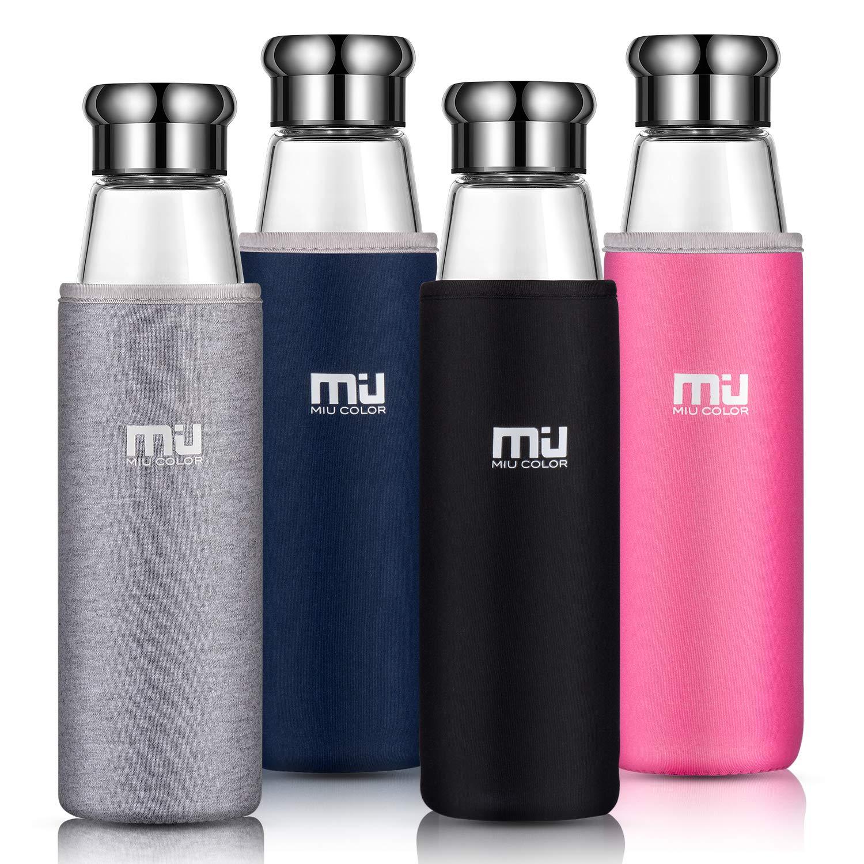 MIU COLOR – Botella portátil de vidrio de borosilicato botella auto con funda de neopreno (700ml): Amazon.es: Hogar