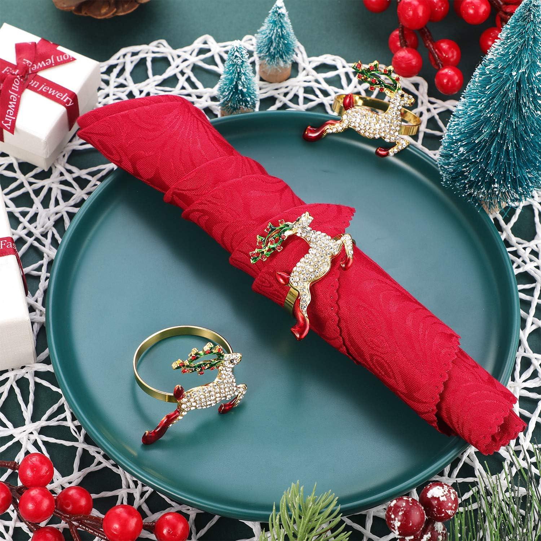 Servilleteros de Ciervo 6 Juegos Soportes de Anillos de Servilleta de Navidad Hebilla de Servilleta de Reno Elegante para Fiesta de Cena de Navidad Adorno Mesa Boda