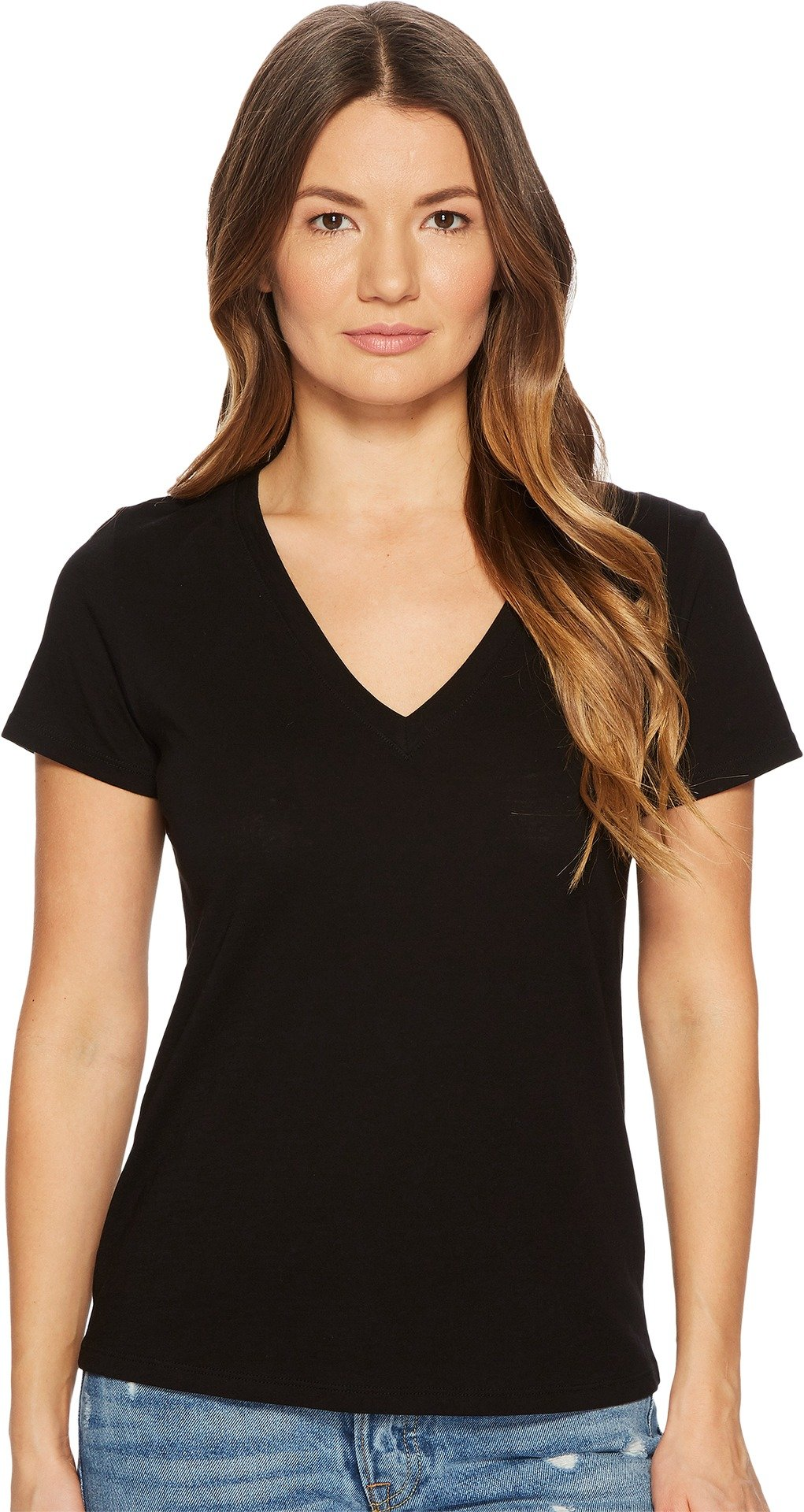 Vince Women's Essential V Neck Tee, Black, Small