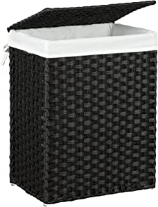 SONGMICS Handwoven Laundry Hamper, Synthetic Rattan Laundry Basket with Removable Liner Bag, Clothes Hamper with Handles for Laundry Room, Black ULCB51BK