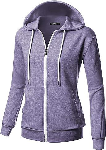 GIVON Womens Comfortable Long Sleeve Lightweight Zip-up Hoodie with Kanga Pocket(XS~4XL)