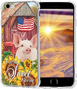 Amolin iPhone SE 2020/8/7 Case,Sweet Farm Pig Sunflower Case for iPhone SE 2020/8/7 with Unique Design Soft Slim Sillicone TPU Scratch-Resistant Protective Cover Case