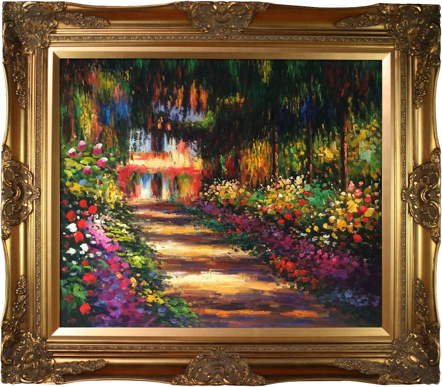 "overstockArt Pathway Garden at at Giverny by Monet with Victorian Gold Frame, 32"" x 28"", Multi-Color"