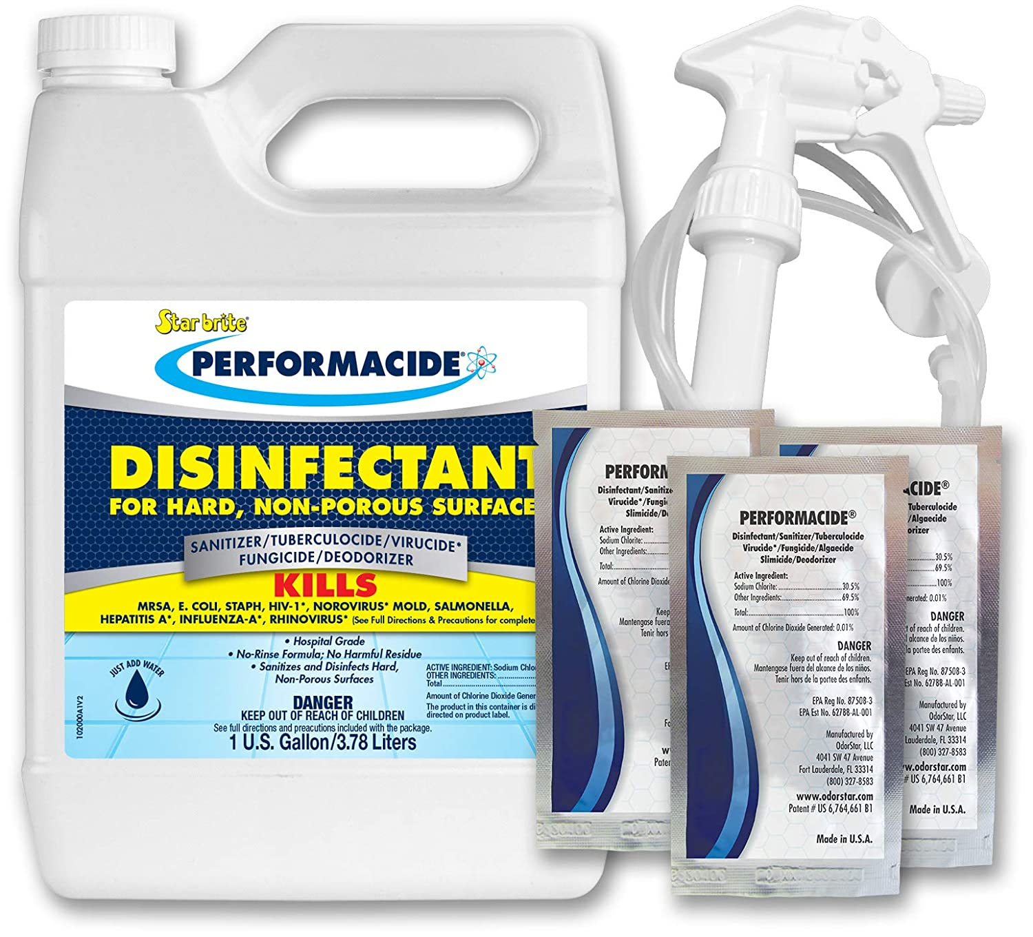 Performacide Hospital & Home Disinfectant- forInfluenza-A, Rhinovirus,MRSA, Staph - Just Add Water - No Rinse, No Wipe, No Residue - EPA Registered - Makes 3 Gallons