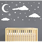 Moon, Stars and Clouds Wall Decals, Kids Wall Decoration, Nursery Wall Decal, Wall Decal for Nursery, Vinyl Wall Stickers for Children Baby Kids Boys Girls Bedroom(Y08) (White)