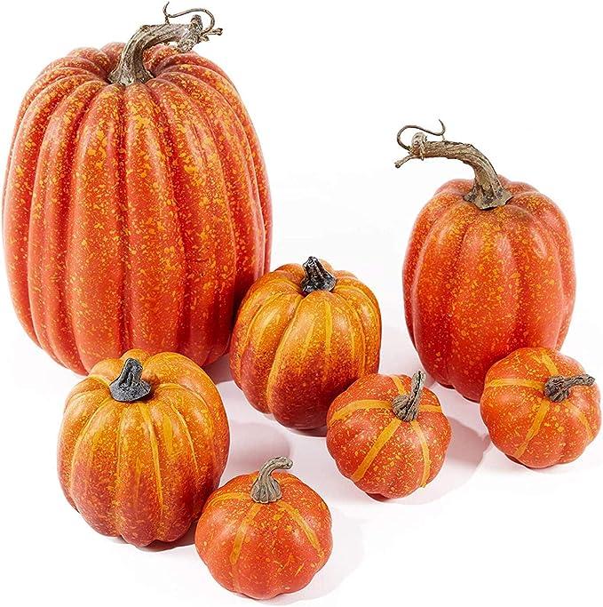 Amazon.com: Artificial Pumpkins,7PCS Mini Fake Pumpkins and Lifelike Maple Leaves, Faux Pumpkins Artificial Vegetables for Halloween Thanksgiving Decorations: Clothing