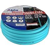 "AlphaWorks Garden Water Hose 5/8"" Inch x 75' Feet Heavy Duty Premium Commercial Ultra Flex Hybrid Polymer Hose Max Pressure 1"