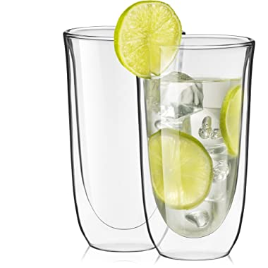 JoyJolt Spike Double Wall Glasses, Cocktail Beer Drinkware Glass (Set of 2) -13.5-Ounces
