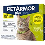 PetArmor Plus Flea & Tick Prevention for Cats with Fipronil, Waterproof, Long-Lasting & Fast-Acting Topical Cat Flea Treatmen