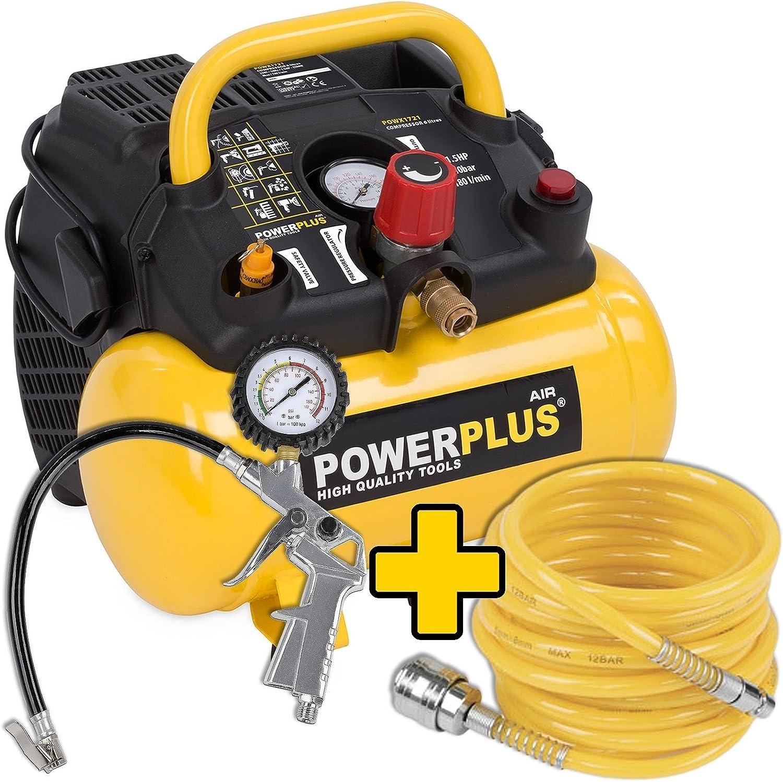 1 100 Watt Kompressor Spiralschlauch Und Reifenfüller Im Set 1 5 Ps 8 Bar 6 Liter Tank Art Nr Powx1721 Zubehör Baumarkt