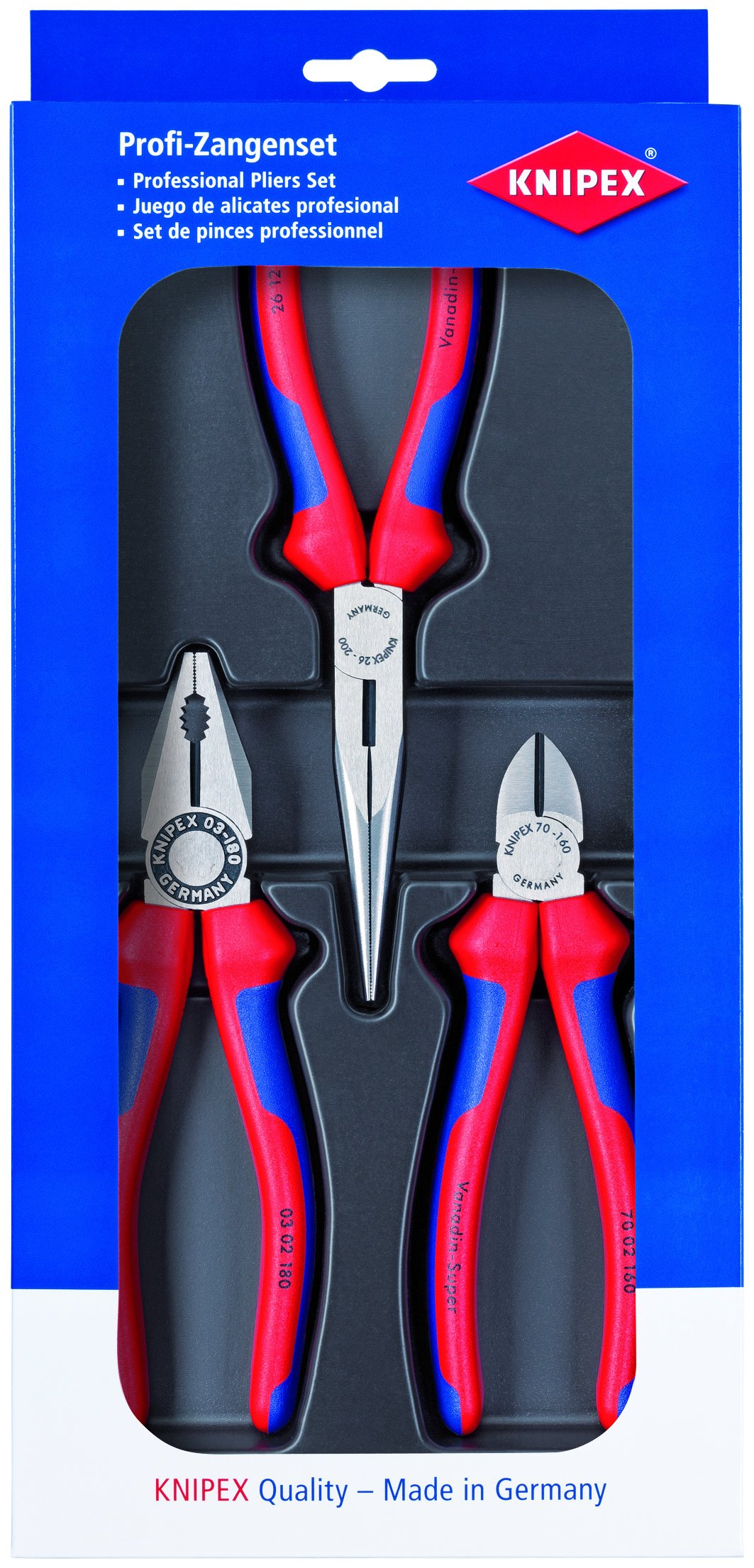 Knipex Tools 00 20 11 Combination Long Needle Nose Pliers and Diagonal Cutters Assembly Tool Set (3 Piece)