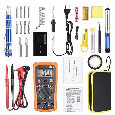 Soldadura Estaño 60W con Multímetro Digital, Estuche de Soldador Electrico Temperatura Ajustable con 2 Puntas