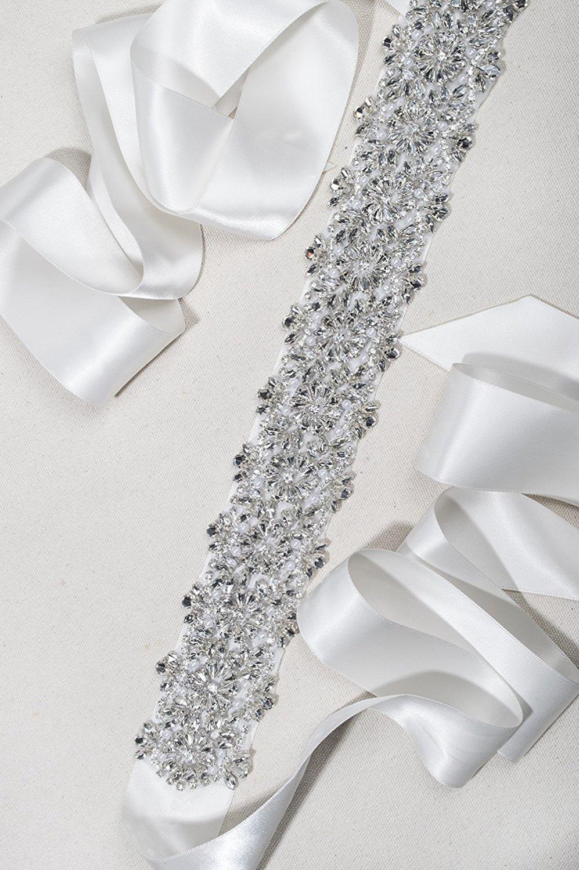 Redowaクリスタルラインストーンパールウェディングパーティーボールブライダルサッシベルト ホワイト 2-204-PW  Pure-White Satin B075WQ1V5L