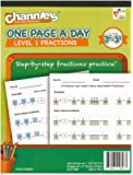 "Channie's One Page A Day Workbook, Beginner Fraction Math Practice Worksheets, 50 Pages Front & Back, 25 Sheets, Grades 3rd, 4th, and 5th, Size 8.5"" x 11"""